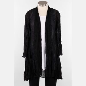 S Comfy USA Long Open Crinkle Mesh Cardigan Duster